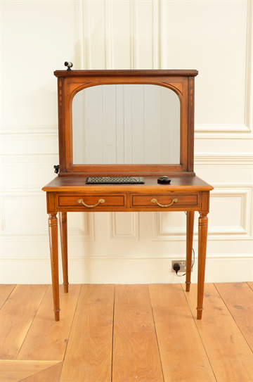 Early 20th century inlaid mahogany 2 drawer, dressing table with MirrorTV and integrated computer.